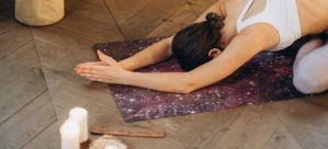 yoga mat shop woman on meditaiton mat